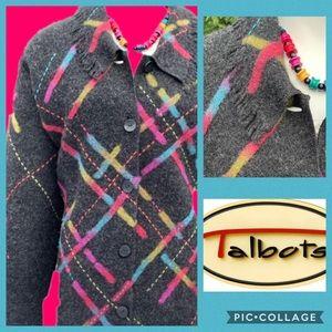 Talbots Embroidered Geometric 100% Wool Cardigan